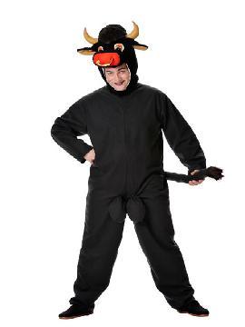 disfraz de toro negro para hombre. Compra tu disfraz barato adulto para tu grupo. Este traje es ideal para tus fiestas temáticas de toros y animales. fabricacion nacional