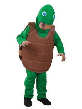 disfraz de tortuga divertida niño infantil. Este clásico para niño este carnaval. Conviértete en un guerrero verde y lucha con tus compañeros contra Despedazador.Este disfraz es ideal para tus fiestas temáticas de disfraces de animales niños.