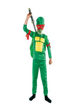 disfraz de tortuga ninja niño infantil. Conviértete en un guerrero verde y lucha con tus compañeros contra Despedazador.Este disfraz es ideal para tus fiestas temáticas de disfraces de animales infantil.
