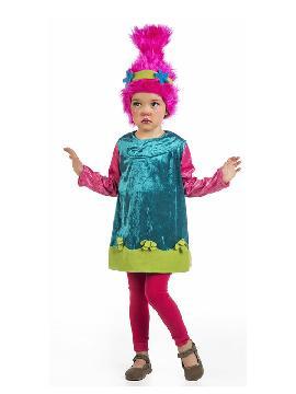 disfraz de troll para niña. Con esta traje Troll serás la Princesa Poppy protagonista de la película de animación Trolls. Divertida y amigable esta pequeña muñeca Troll se lo pasará de miedo en fiestas temáticas, halloween y carnaval. Este disfraz es ideal para tus fiestas temáticas de disfraces de personajes de television infantiles.