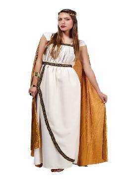 disfraz de troyana oro para mujer. Este tipo de vestidos, son favorecedores y aportan mucho estilo, para poder asistir a cenas y bailes de disfraces elegantes. Este disfraz es ideal para tus fiestas temáticas de disfraces de guerreros y arabes, romanos y egipcios para adultos. Fabricación Nacional