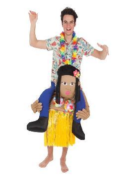 disfraz de turista a hombros de hawaiana adultos