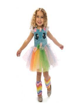 disfraz de unicornio azul con ojitos para niña