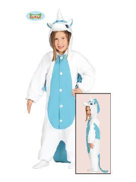 disfraz de unicornio azul onesie niña