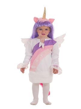 disfraz de unicornio con alas y peluca para niña