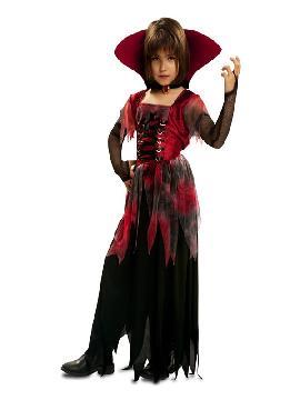 disfraz de vampiresa gotica con cuello para niña