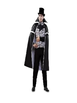 Disfraz de vampiro blanco negro para hombre. Lo pasarás de muerte asustando a los pequeños en la noche de Terror y halloween. Este disfraz es ideal para tus fiestas temáticas de miedo y vampiros para adultos.