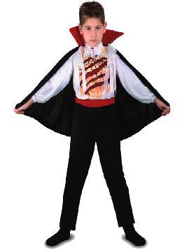 Disfraz de vampiro deluxe para niño. Los más pequeños de la casa atacarán los cuellos de sus amigos. Sal de tu castillo y disfruta de halloween. Este disfraz es ideal para tus fiestas temáticas de disfraces de miedo y vampiros para niños infantiles.