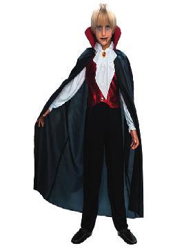 Disfraz de vampiro gótico deluxe para niño. Es muy cómodo para vestir a los diminutos de la casa, y que puedan hacer mil travesuras en las fiestas temáticas de las guarderías, en halloween. Es ideal para tus fiestas temáticas de disfraces de miedo y vampiros infantiles.
