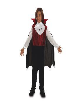 Disfraz de vampiro gótico para niño. Es muy cómodo para vestir a los mas pequeños de la casa, y que puedan hacer mil travesuras en las fiestas temáticas de las guarderías, en halloween. Es ideal para tus fiestas temáticas de disfraces de miedo y vampiro infantiles.