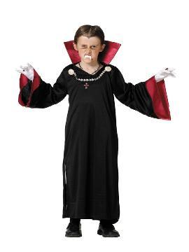 disfraz de vampiro para niño. Los más pequeños de la casa atacarán los cuellos de sus amigos. Sal de tu castillo y disfruta de halloween. Este disfraz es ideal para tus fiestas temáticas de miedo y vampiro para infantil. fabricacion nacional