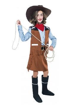 disfraz de vaquera con flecos para niña