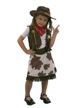 disfraz de vaquera marron y blanco para niña