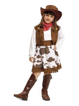 disfraz de vaquera marron y blanco niña