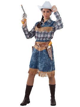 disfraz de vaquera mujer adulto. Este traje presenta una estética desenfada y moderna, alejada de la clásica imagen de los Cowboys de las películas de cine del Oeste.Este disfraz es ideal para tus fiestas temáticas de disfraces de indios y vaqueros para el oeste para mujer adultos.