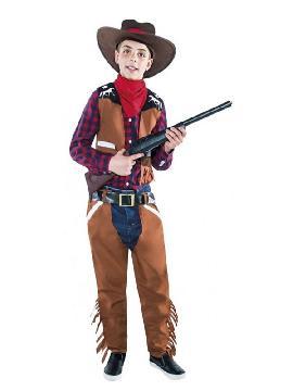 Este disfraz de vaquero con flecos para niño es ideal para las mejores fiestas del oeste con tus amigos o con la familia. Si teneis una fiesta temática de indios o vaqueros en el lejano oeste este es tu disfraz original con tus pistolas para los carnavales, halloween o cualquier fiesta temática infantil.