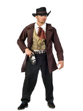 disfraz de vaquero cowboy hombre adulto. Acercarás más si cabe el Lejano Oeste creando una auténtica atmósfera de pistoleros, Compra tu disfraz de sherif barato para grupo.Este disfraz es ideal para tus fiestas temáticas de disfraces de indios y vaqueros para el oeste para hombre adultos.