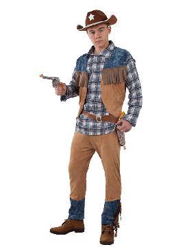 disfraz de vaquero marron hombre adulto. Conviértete con este traje en el Sheriff más original del Carnaval, Despedidas, Espectáculos y Fiestas Temáticas de Disfraces. Este disfraz es ideal para tus fiestas temáticas de disfraces de indios y vaqueros para el oeste para hombre adultos.