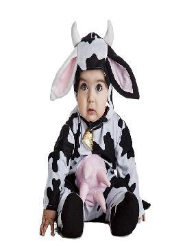 disfraz de vaca para bebe infantil. Transformarás a los pequeños de la guardería en el rumiante. Viste a tu animalito de manchas preferido para sus fiensta de guarderia y fiestas tematicas. Este disfraz es ideal para tus fiestas temáticas de disfraces de animales.