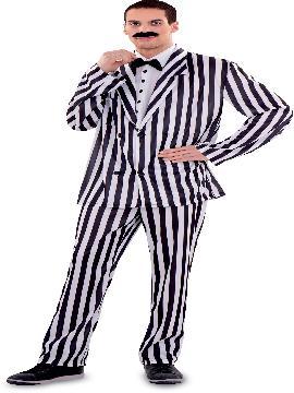 Disfraz de Víctor Addams para hombre. Este traje del padre de la familia Addams es ideal para tus fiesta de disfraces en halloween. .Este disfraz es ideal para tus fiestas temáticas de disfraces de miedo y terror adultos.