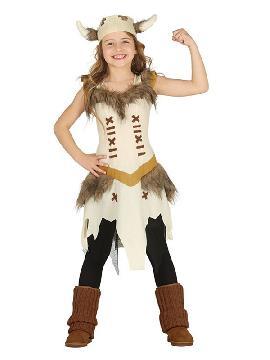 disfraz de vikinga con cuernos para niña