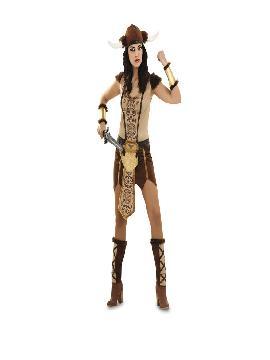 disfraz de vikinga deluxe para mujer. Imita a la perfección el uniforme bárbaro de la guerrrera nórdica. Es un traje perfecto para acudir a fiestas de disfraces. Este traje es ideal para tus fiestas temáticas de barbaros y vikingos guerreros.