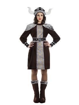 disfraz de vikinga marron para mujer adulto. Imita a la perfección el uniforme bárbaro de la guerrera nórdica. Es un traje perfecto para acudir a Fiestas de Disfraces.Este disfraz es ideal para pareja o tus fiestas temáticas de disfraces de guerreros y arabes para mujer adultos para formar grupos y familas originales.
