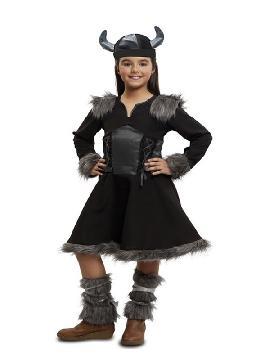 disfraz de vikinga negra para niña