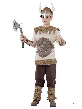 disfraz de vikingo guerrero niño infantil. Es perfecto para volver a los países nórdicos propios de los vikingos con tus pequeñas en sus fiestas temáticas, festivales escolares o carnaval. Este traje es ideal para tus fiestas temáticas de barbaros y vikingos guerreros.