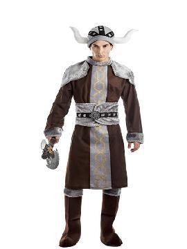 disfraz de vikingo marron para hombre adulto. Imita a la perfección el uniforme bárbaro de la guerrera nórdica. Es un traje perfecto para acudir a Fiestas de Disfraces.Este disfraz es ideal para parejas o tus fiestas temáticas de disfraces de guerreros y arabes para mujer adultos para formar grupos y familas originales.