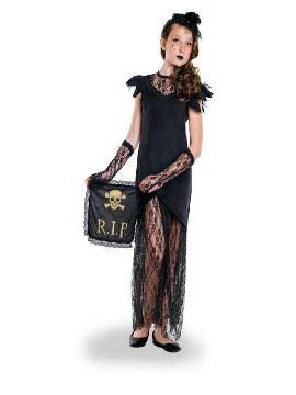 disfraz de viuda negra para niña