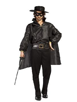 disfraz de zorro negro para hombre. Éste traje es perfecto para vestirse del enmascarado es ideal para tu pareja, familia o tus fiestas temáticas de disfraces superheroes y comic para adultos.