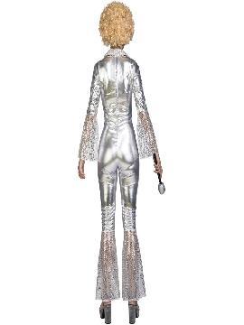 disfraz disco plateado para mujer