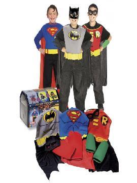 disfraz en cofre batman robin y superman para niño