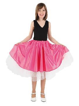 Disfraz de falda Olivia para niña. Es perfecta para lucir en cualquier fiesta disco o rock de los años 50, 60, 70 y 80. Este disfraz es ideal para tus fiestas temáticas de disfraces de hippies y años 60,70 y 80 para infantiles. fabricacion nacional