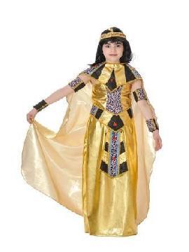 Disfraz de faraona egipcia para niña. Prepárate para salir de casa acompañando a la faraona egipcia nefertiti en carnavales. Este disfraz es ideal para tus fiestas temáticas de disfraces romanos y egipcios infantil. fabricacion nacional
