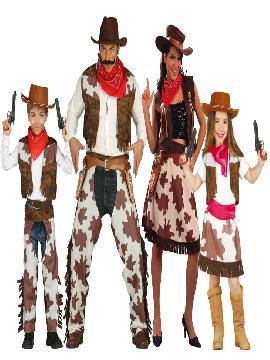 disfraz grupo y familia de vaqueros del oeste. Conviértete con estos disfraces en los Sheriffs más original del Carnaval, Despedidas, Espectáculos y Fiestas Temáticas de Disfraces.Este disfraz es ideal para tus fiestas temáticas de disfraces de indios y vaqueros para el oeste para familias y grupos