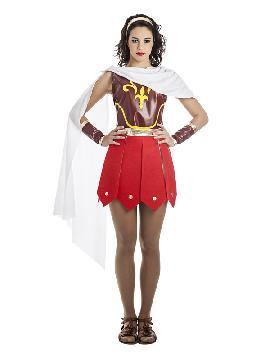 disfraz guerrera romana roja mujer