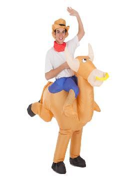 disfraz hinchable cowboy montando toro para hombre