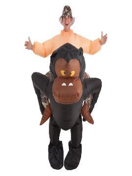disfraz hinchable de explorador montando gorila adultos