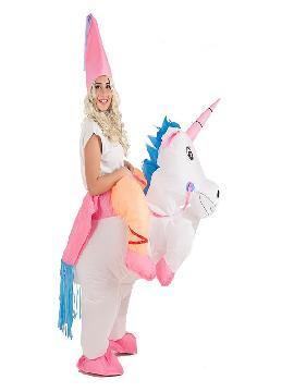 disfraz hinchable de hada montando unicornio mujer