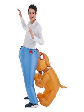 disfraz hinchable de perro mordiendo culo para adultos