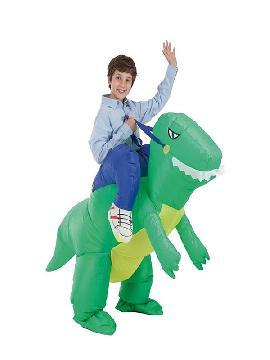 disfraz hinchable dinosaurio y domador para niño