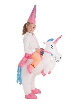disfraz hinchable unicornio con princesa niña