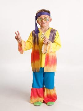 disfraz hippie colorido para niño varias tallas. Los pequeños de la casa se convertirán en seguidores del movimiento pacifista de paz y amor.Este disfraz es ideal para tus fiestas temáticas de disfraces hippies Años 60,70 y 80 para niños infantiles
