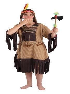 Disfraz de india nube roja para niña. Este comodísimo traje es perfecto para forma parte de una tribu en carnavales.Este disfraz es ideal para tus fiestas temáticas de disfraces de indios y vaqueros para el oeste infantiles.