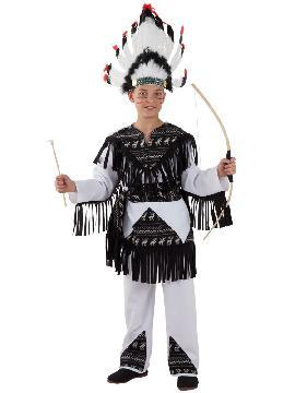 disfraz indio cherokee niño infantil. Te convertirás en una auténtica chico de una tribu norteamericana de indios apache. Diviértete bailando la danza de la lluvia en tus fiestas temáticas y festivales escolares. fabricacion nacional