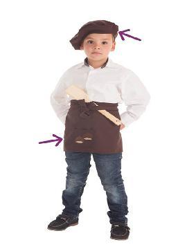 disfraz kit de castañero para niño delantal y boina