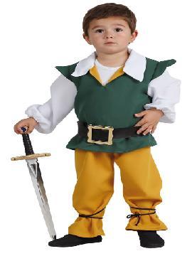 Disfraz medieval niño infantil. Transformarás a tu bebé en el príncipe de cuento y buscara en las fiestas medievales a su princesa. Es ideal para las fiesta de guardería y fin de curso.