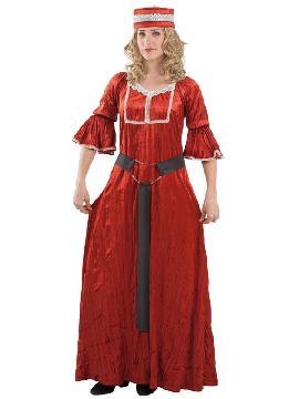 disfraz medieval rojo para mujer adulto. Compra tu disfraz barato es ideal para fiestas temáticas inspiradas en la edad media, ferias y mercados medievales. Fabricacion nacional.